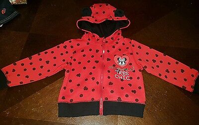 Girls Minnie mouse 2-3 years jumper hoddie cardigan jacket clothes next ears