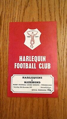 Harlequins V Richmond Rugby Programme December 1977.