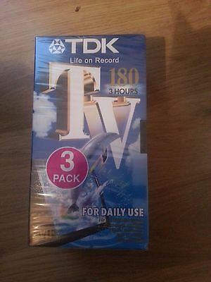 Pack of 3 TDK E-180 TV VHS PAL Video Cassette Tapes3 Hours Brand New Sealed