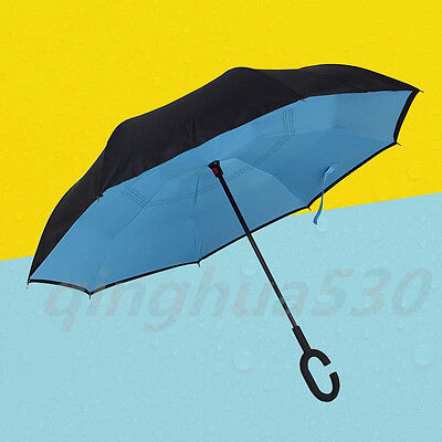 C-Handle Windproof Reverse Double Layer Upside Down Inverted Umbrella Blue
