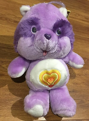 "CARE BEAR COUSIN VINTAGE BRIGHT HEART RACCOON KENNER 13"" PLUSH 1980's SOFT TOY"