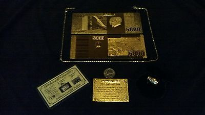 PRECISE DETAIL! GOLD SOUTH AFRICA Banknote Rep.*W/COA+GOLD Leaf&SILVER Bar