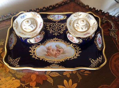 Very Rare 19th C Meissen Double Inkwell Cobalt Blue
