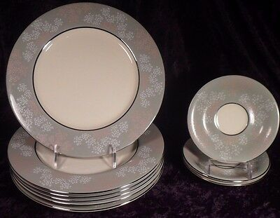 Set of 9 Castleton Lace Dishes, EUC - 6 Dinner Plates and 3 Saucers. Made in USA