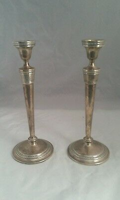 2 Antique Wedgwood International Sterling Silver Candlesticks