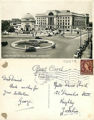 s08096 Civic Centre, Birmingham, Warwickshire, England RP postcard posted 1955