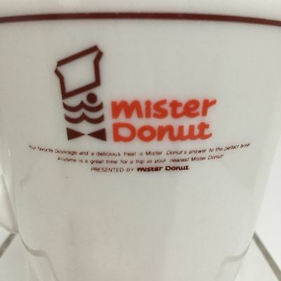 VTG MISTER DONUT Logo Heavy Coffee Mug Restaurant Ware Holds 7oz White Ceramic F