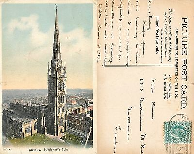 s08110 St Michael's Spire, Coventry, Warwickshire, England postcard posted 1907