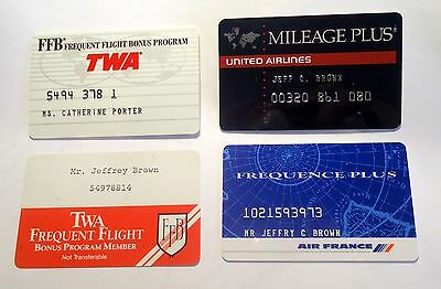 Frequent flyer Mileage Plus Air France TWA(2) United four cards