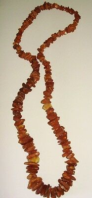SINGLE STRAND of CHUNKY BUTTERSCOTCH RAW AMBER NECKLACE-NATURAL-GRADUATED