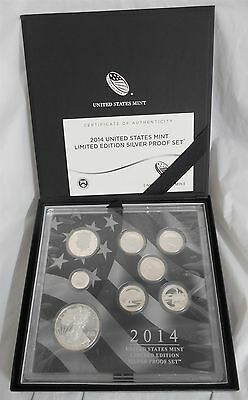 2014 Limited Edition US Mint 8 Coin Silver Proof Set w/ Box & COA