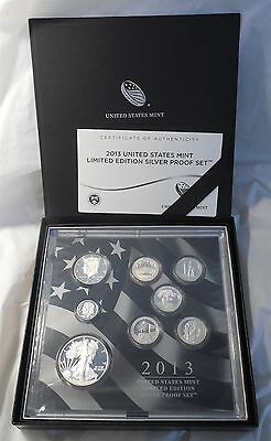 2013 Limited Edition US Mint 8 Coin Silver Proof Set w/ Box & COA