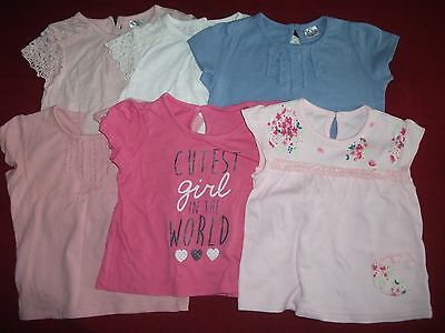 Baby Girls 6-9 Months Bundle - 6 Short Sleeved Tops