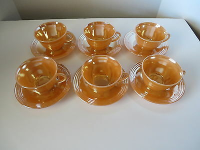 6 sets Fire King 3 Bands Peach Lustre Cups & Saucers Unused 6 Cups 6 Saucers USA