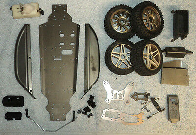 Hyper 7 7.5 Job Lot Random Parts Including Main Chassis Plate In Good Condition