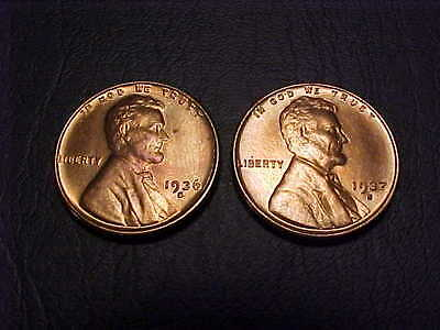 1936-S & 1937-S Uncirculated Lincoln Wheat Cents