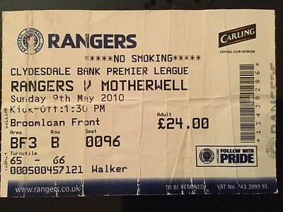 Rangers v Motherwell League Ticket May 2010
