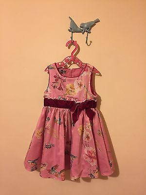 TED BAKER Girls Pink floral Printed Party dress (18-24 Months)
