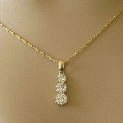 Secondhand 18ct yellow gold multi diamond 0.50ct pendant & chain (17 inches).
