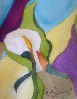 original  watercolor painting abstract home decor modern  floral contemporary