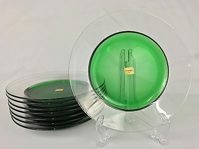 """Luminarc Atlante Boutique EIGHT 8 1/2"""" Clear Glass Salad Plates w/ Green Centers"""