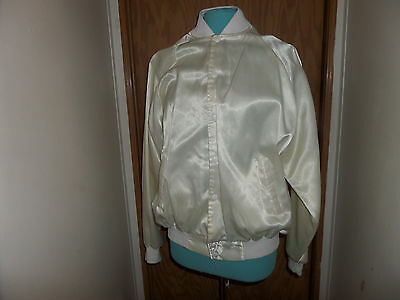 """White Silk Jacket ~ """" Shooters"""" Cleveland Oh.~Embroidered Back~Mens Xl"""