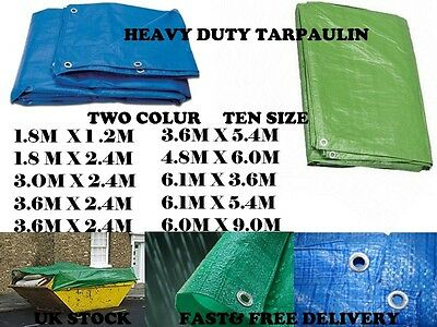 Heavy Duty Tarpaulin Blue Waterproof Strong Cover Ground Sheet Tarp UK Stock