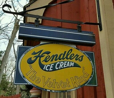 Vintage Hendlers Ice Cream Two Sided Hanging Sign Painted Metal