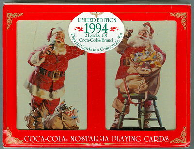 COCA-COLA 1994 NOSTALGIA PLAYING CARDS IN TIN CONTAINER with ORIGINAL SLEEVE