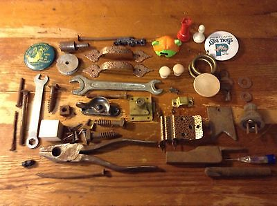 Vintage Junk Drawer Lot Includes Tools Hardware Toys Pins and More