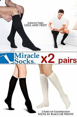 2 Pairs Unisex Anti-Fatigue Compression Miracle Socks. 2 Sizes Avl Black /White