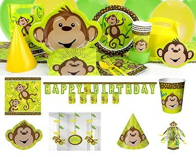 Monkey Party Monkeying Around Birthday Party Decoration Tableware Plates Cups