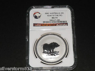 Australia 2007 Lunar Series I - Year of Pig 1oz Silver Coin NGC MS70 PERFECT
