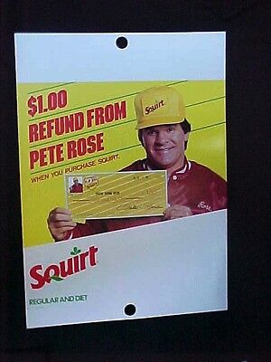 Large Squirt Soda Pete Rose Store Poster/counter Display Recalled