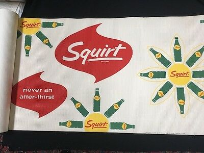 "Large Corrugated Roll Store Ad Squirt ""never An After-Thirst"" 24' Long X 30""high"