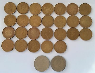 lot of 28 Canadian dollar coins - circulated Canada LOONIES - loose