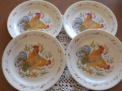 """Corelle Country Morning Rooster Salad Bread & Butter Plates 7 1/4"""" Set of 4 EX"""