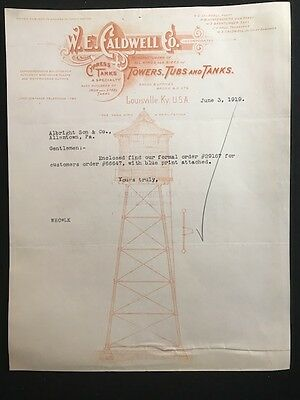 Used Letterhead 1919 W.e. Caldwell Co Louisville Ky Illus Water Tower