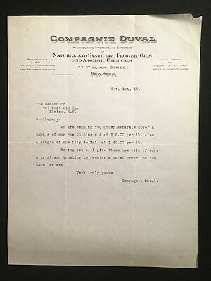 Used Letterhead 1918 Compagnie Duval New York Ny Flower Oils