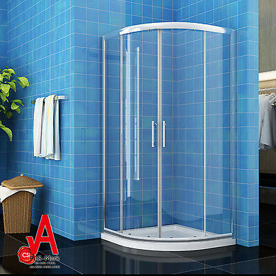 900X900X1900mm Curved Sliding Shower Screen Enclosure with Matching Shower Base