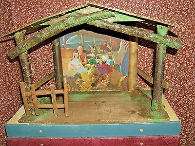 Vintage Nativity RUSTIC  MANGER WOOD  10X14 BACKGROUND FEATURES NATIVITY SCENE