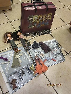 Lot Of 2 Bratz Dolls With Clothing, Accessories And Fancy Fringed Case