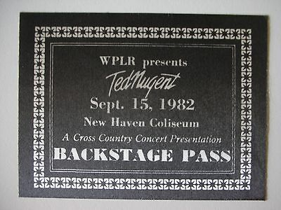 Ted Nugent Vintage Tour Backstage Pass!! Unpeeled!! RARE!! Connecticut!