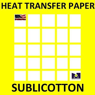 SUBLICOTTON Heat Transfer Paper 8.5 x 11 (25) Sheets for Dye Sublimation cotton