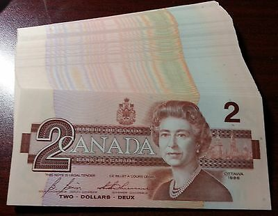 1986 Canadian $2 Dollars Bills UNC   FREE SHIPPING ( ONE PCS ONLY)