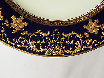 Hutschenreuther Jeweled Raised Gold Encrusted Cobalt Cabinet Platter Plate 1920s
