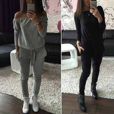 Women Long Sleeve T-shirt Pullover Tops + Pants Trousers Tracksuit Sports Set
