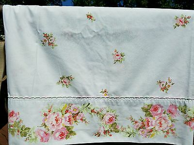 Vtg Perma Prest Full Double Flat Bed Sheet Pink Rose Floral Shabby Cottage Chic