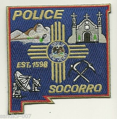 Socorro Police State Shaped NEW MEXICO NM Shoulder Patch Colorful