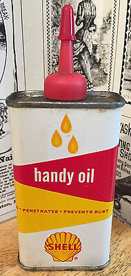 Vintage Shell Handy Oil Oiler / Tin / Can - Gas Station Advertising - Lubricant
